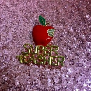 Super Teacher Rhinestone Apple Brooch